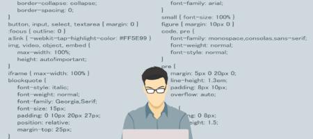 Illustration af en mand, der sidder ved en computer og koder. Kodning vises omkring ham.