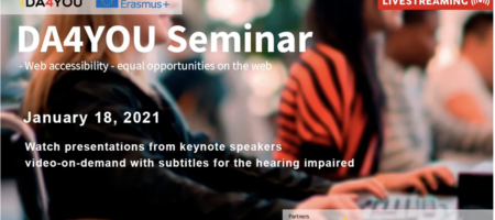 DA4You web accessibility seminar January 18th. 2021.